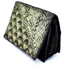 Vintage Black Velvet Gold Metallic Embroidered Purse Clutch Handmade in India image 2