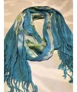 Vintage Blue Green Tie Dye Tasseled Shawl Wrap Scarf - $27.72