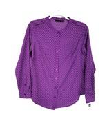 Apt. 9 Womans Petite Medium Blouse LS Purple Checks Button Down LN - £18.59 GBP