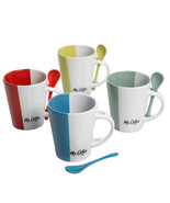 Mr. Coffee Caf and eacute; Roma 8 Piece 14 oz. Mugs with Matching Spoons... - $32.79