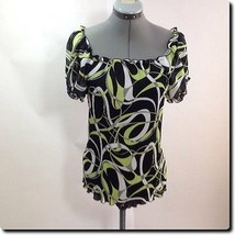 Blue Diamond Black and Green Short Sleeve Top M - $11.65
