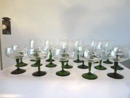Set Of 18 Vintage Libbey Crystal Olive Stem Clear Top Wine Goblets - $26.72