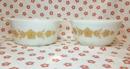 Vtg Pyrex Casserole Dish Bowl #474-B/402 Butterfly Gold (2) 1.5 Quart No... - $14.84