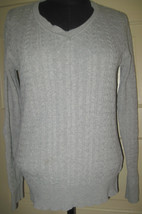 Sonoma Gray Cable Knit V-Neck Cotton Sweater M Free Ship - $11.49
