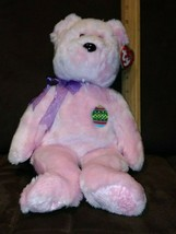 """Retired 2001 TY BUDDY Soft Plush 15"""" Candy Pink EGGS The BEAR w/Easter Egg Patch - $5.99"""