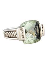 David Yurman 15mm Cushion Deco Prasiolite with Diamonds Ring - $995.00