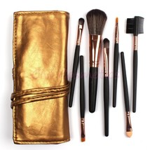 Makeup Brush Set Kit in Sleek Golden Leather Bag Portable Make up Brushes - $14.99