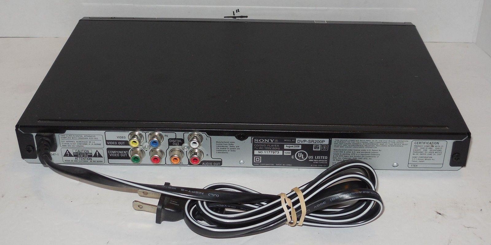 ... Sony Progressive Scan DVP-SR200P Black Slim CD & DVD Player No Remote  ...
