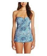Jessica Simpson Intero Tg. M Blu Mare Bianco Costume da Bagno a Fascia S... - $49.44