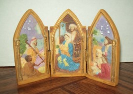 Christmas Nativity Resin Panels Triptych Hinged Holiday Decoration Mange... - $11.13