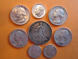 (8) OLD VINTAGE US. 90% SILVER COINS-LIBERTY HALF-WASH. QUARTERS-DIMES--... - $29.90