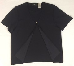 Sag Harbor Top Short Sleeve Layered Look Faux Twofer Duo Black Size M - $9.90