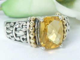 Sterling Silver 14K Yellow Gold Citrine Gemstone Ring Size 6.75 - $98.00