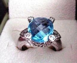 JUDITH RIPKA BLUE QUARTZ SS HEART RING W CZ'S SIZE 7 JR RING & OUTER BOX... - $159.95