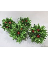 "(4) NEW Christmas Holly Berries Ornaments Balls 4"" Green Glitter  - $19.99"