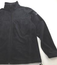 Columbia Men's Full Zip Black Fleece Jacket Drawstring Waist Size L - $18.69