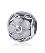 5 sterling silver bead with flower crystal beads fit pandora charm diy bracelet bangle thumbtall