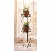 Two Tier Lacy Scroll Indoor or Outdoor Plant Stands Verdgris Finish Metal - $29.05