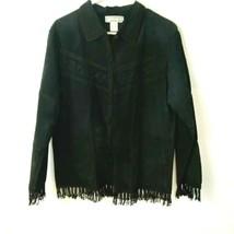 Black Suede Women Jacket Coat Fringe Leather Rayon  Medium Boho Chic Retro - $26.08