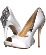 Badgley Mischka Kiara Jeweled Heel Platform Peep Toe Pumps 369, White, 6... - $75.83