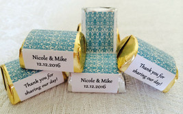 210 BLUE DAMASK Personalized Candy labels/wrappers/stickers for wedding/party - $12.86
