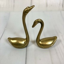 Solid Brass Swan Figurine Miniature Set of 2 Swans Paperweight Decor - £12.98 GBP