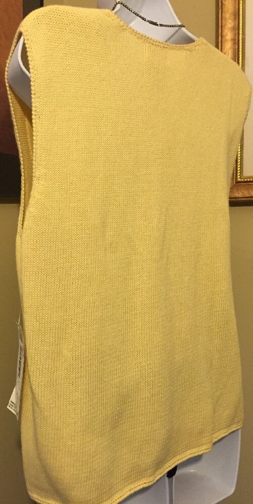 Napa Studio Yellow Cotton Blend Embroidered Sweater Vest Size S New With Tags image 10