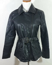 Attention Womens Jacket Small Black Moto Belted Faux Leather Pockets Lon... - $24.99