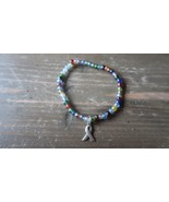 Vintage Glass Bead Sterling Silver Beast Cancer Ribbon Charm Bracelet - $7.91