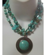 Vintage Silver-tone Trip-Strand Faux Turquoise & Shell Pendant Necklace - $55.00