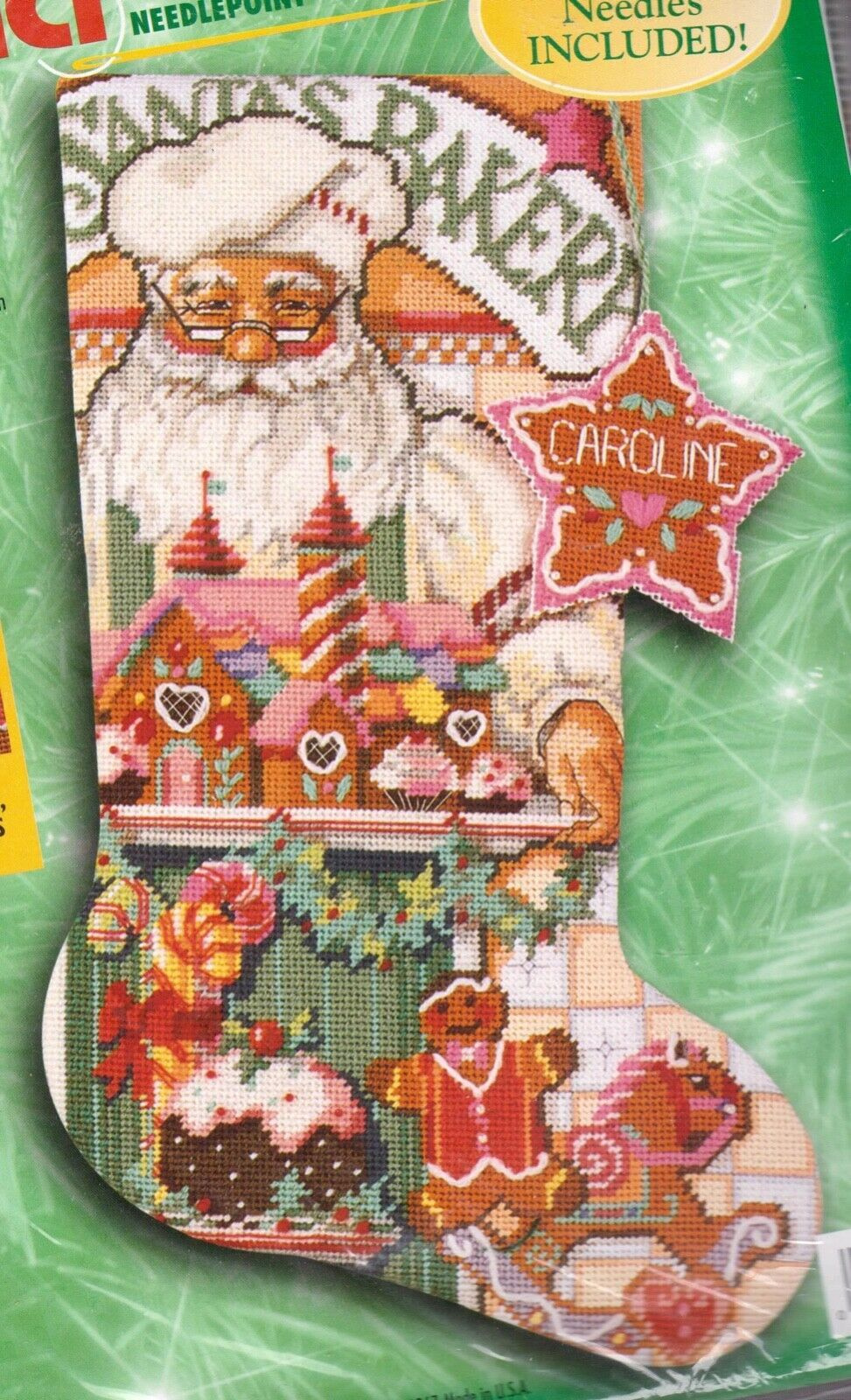 Primary image for Bucilla Baker Santa Gingerbread Cookies Holiday Needlepoint Stocking Kit 60772