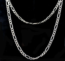 "Vintage Heavy Figaro Sterling Silver 7mm Chain Necklace 22"" - $89.99"