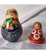 Russian Wooden Santa Matryoshka Girl Roly Poly Chime Bells Hand Painted ... - $85.45