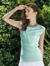 "Colletta ""Tessa"" Softly Draped Surplice Sleeveless Mint Top  - Simply Be... - $29.95"