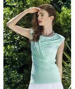"Colletta ""Tessa"" Softly Draped Surplice Sleeveless Mint Top  - Simply Be... - $29.95"