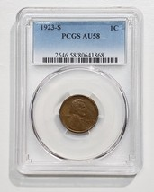 1923S  One Cent Lincoln Head Penny Coin PCGS AU58 Lot# E 246