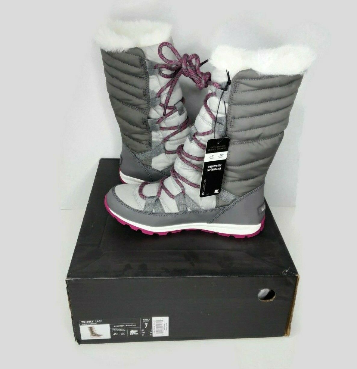 Primary image for SOREL Whitney Womens Size 7 Lace Up Tall Boot Faux Fur Waterproof Gray Quarry
