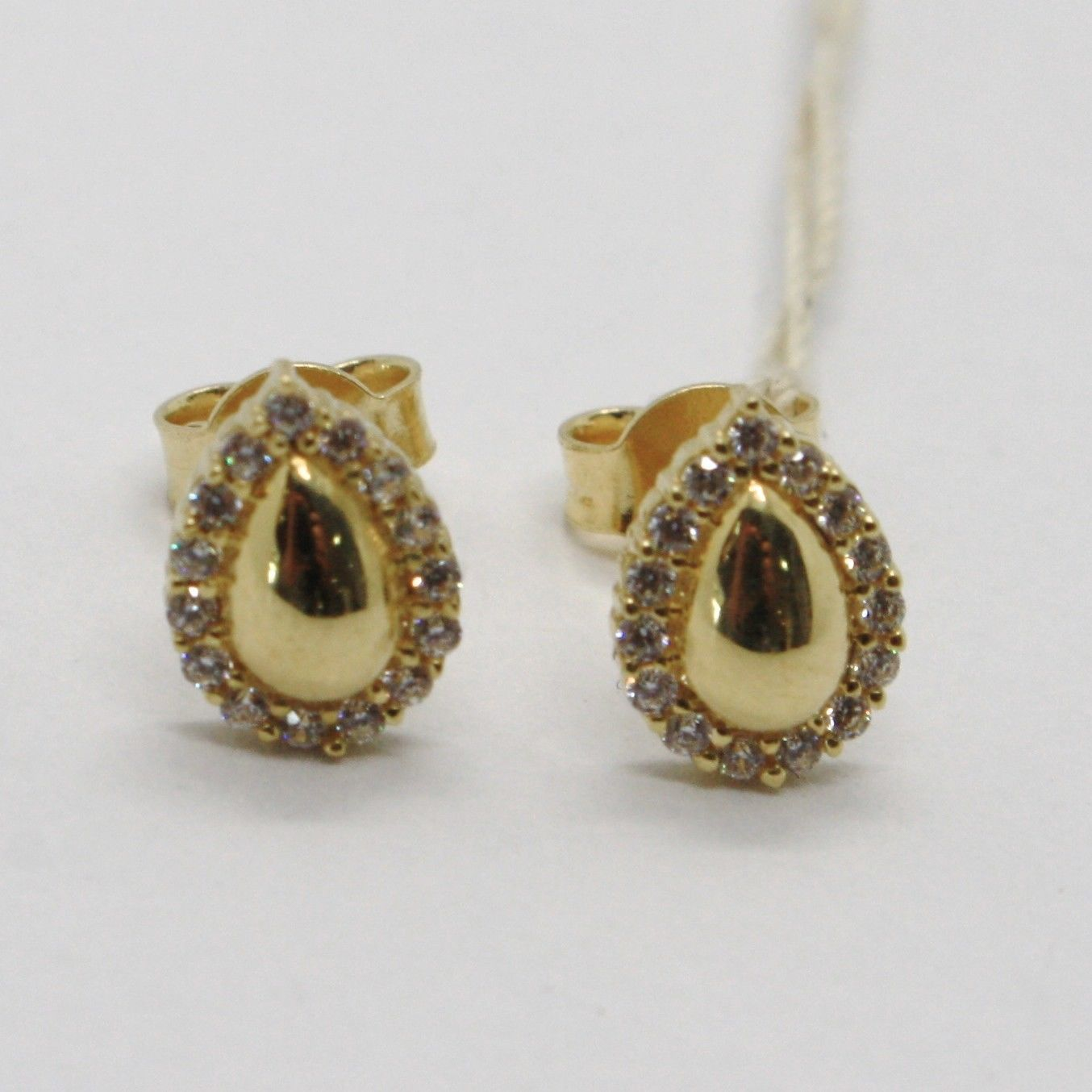 18K YELLOW GOLD EARRINGS, DROP WITH ZIRCONIA, LENGTH 9 MM, MADE IN ITALY
