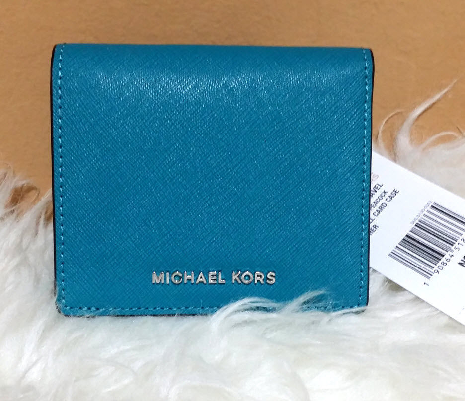Primary image for Michael Kors Jet Set Travel Flap Card Holder Wallet Saffiano Leather PEACOCK NWT