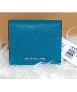 Michael Kors Jet Set Travel Flap Card Holder Wallet Saffiano Leather PEA... - $47.52
