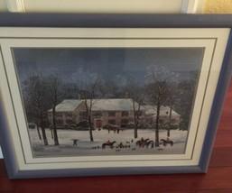 "Vintage Large Framed Matted 37""x 31"" Michel Delacroix Print La Chasse d'Hiver image 2"