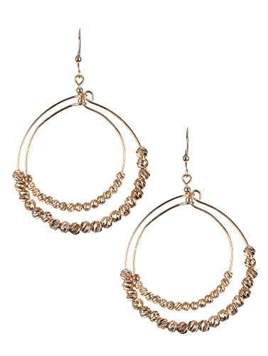 Metallic Bead Double Wire Dangle Earrings (Pink/Rose Gold)