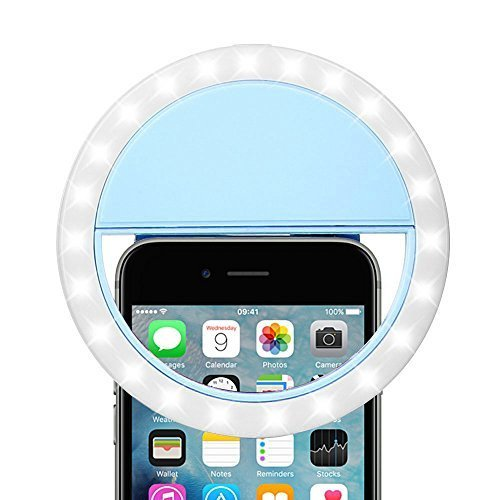 Rechargeable Selfie LED Camera Ring Light,3 Adjustable Brightness Level - Blue