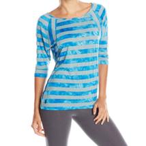 XS 0-2 Lole Women's Alicia Top 3/4 Sleeve Tee Shirt Blue Potato Stripe NEW