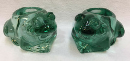 Spanish Green Frog Candle Holders Indiana Glass Votive Tea Light Pair Set - $19.79
