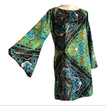 MSK Vintage Jewel Tone Paisley Bell Sleeve Dress 6 - $48.51