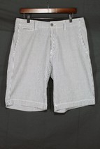 NEW Men's Gap Flat Front Seersucker Shorts White / Grey Stripe Short 33 - $22.94