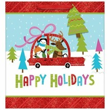 Happy Friendly Holiday Large Square Bag w/ gift tag 12x12x5 - $3.26