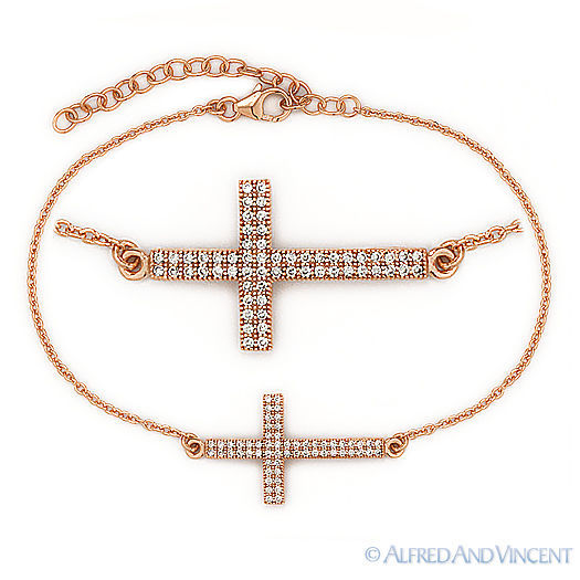 Sideways Cross Christian Charm Micro Pave Bracelet / Anklet .925 Sterling Silver