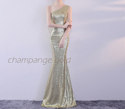 ROSE GOLD One Shoulder Sequin Dress Women Plus Size Mermaid Maxi Sequin Dresses image 4